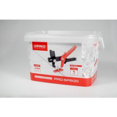 System poziomujący PRO-SP600 1mm klipsy 400 szt wiadro 5l