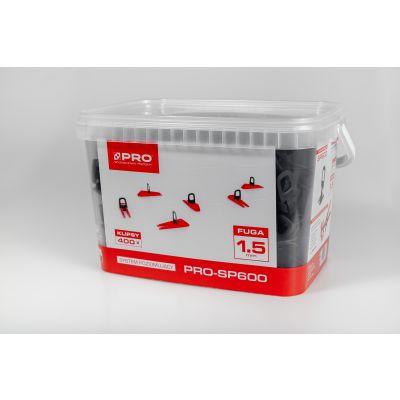 System poziomujący PRO-SP600 1,5mm klipsy 400 szt wiadro 5l