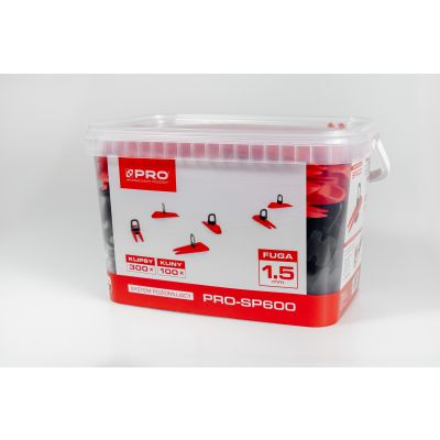System poziomujący PRO-SP600 1,5mm mix - klipsy/kliny 300/100 szt wiadro 5l