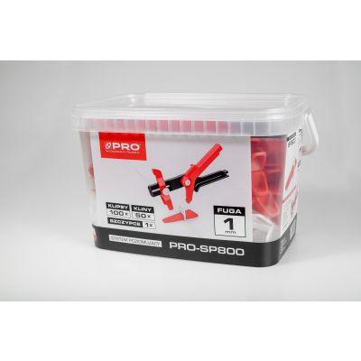 System poziomujący PRO-SP800 1mm mix klipsy/kliny 100/50 + szczypce - wiadro 5l